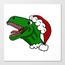 Santa T-Rex Christmas Sweater Canvas Print