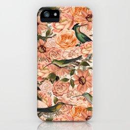 Nostalgic Flower And Hummingbird Pattern iPhone Case