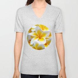 Frangipani halo of flowers Unisex V-Neck