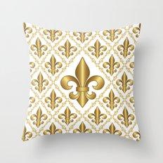 Gold Fleur-de-Lis Pattern Throw Pillow