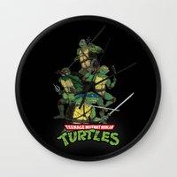 tmnt Wall Clocks featuring TMNT by Neal Julian