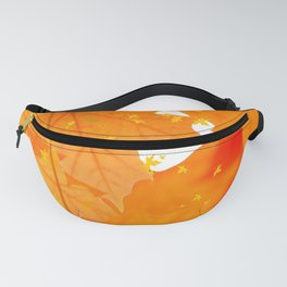 Fall Orange Maple Leaves On A White Background #decor #buyart #society6 Fanny Pack