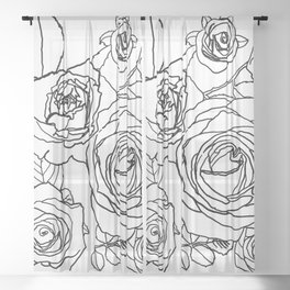 Feminine and Romantic Rose Pattern Line Work Illustration Sheer Curtain