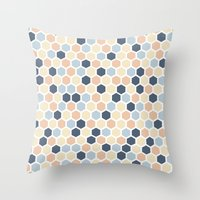 honeycomb Throw Pillows featuring Honeycomb by 603 Creative Studio