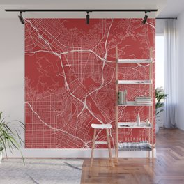 Glendale Map, USA - Red Wall Mural