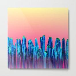 Candy Sunset Blue Cactus Glitch Metal Print