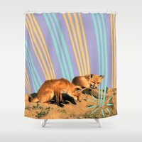 foxes Shower Curtains featuring Foxes by Celery Woulise