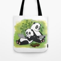 pandas Tote Bags featuring Pandas by Lisidza's art