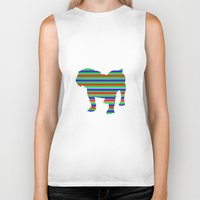 stripe Biker Tanks featuring Bulldog Stripe by Whimsy Notions Designs