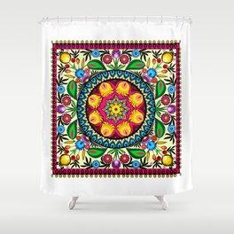 folk flowers collage Shower Curtain