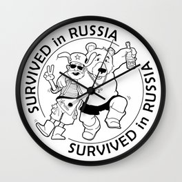"""Black and White Vector Medal: """"Survived in Russia"""" Wall Clock"""