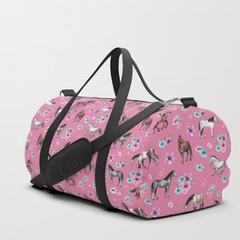 Pink Horse Print, Hand Drawn, Horses and Flowers, Girls Room, Duffle Bag