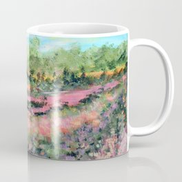 Abstract Landscape Painting, Summer Valley, Colorful Modern Home Decor Coffee Mug