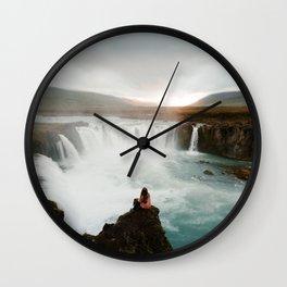Last sunlight at Godafoss Waterfall Wall Clock