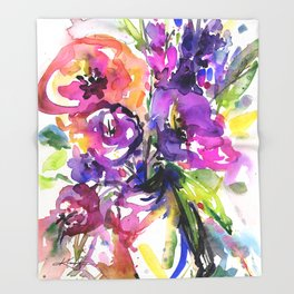 Floral Dance No. 5 by Kathy Morton Stanion Throw Blanket