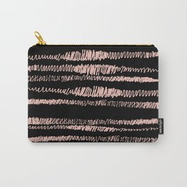 Pink and Black Hand Drawn Squiggle Horizontal Stripes, home decor, feminine Carry-All Pouch