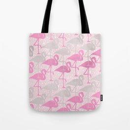 flamingos in pink and gray Tote Bag
