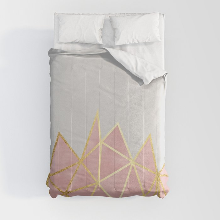 Pink & Gold Geometric Comforters