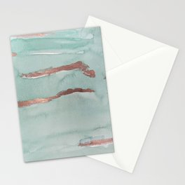 Modern abstract mint rose gold watercolor brushstrokes Stationery Cards