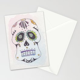 Watercolor Skull in Blue Stationery Cards