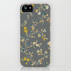 vintage floral vines - greys & mustard iPhone (5, 5s) Slim Case