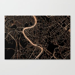 Black and gold Rome map Canvas Print