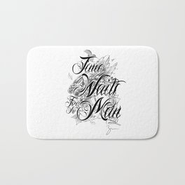 Chicano Lettering - Time Waits For No Man Bath Mat