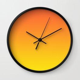 Neon orange and neon yellow gradient, Ombre. Wall Clock