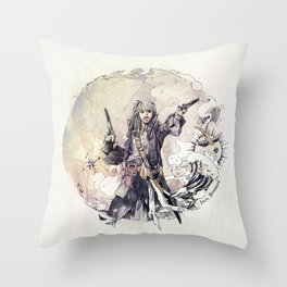 Jack Sparrow with double pistols Throw Pillow