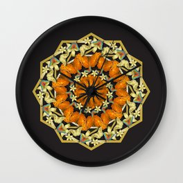 Kaleidoscope of butterflies and flowers Wall Clock