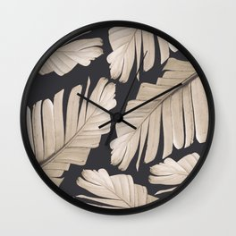 Sepia Banana Leaves Dream #1 #foliage #decor #art #society6 Wall Clock