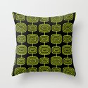 Mid Century Modern Atomic Rings Pattern Black and Chartreuse by tonymagner