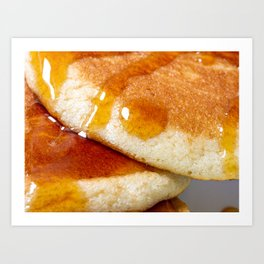 Detail of homemade pancakes wet with maple syrup Art Print