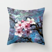 cherry blossoms Throw Pillows featuring Cherry Blossoms by Just Kidding