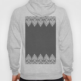 White Vintage Lace Gray Background Hoody