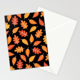 RETRO AUTUMN LEAVES ON BLACK Stationery Cards