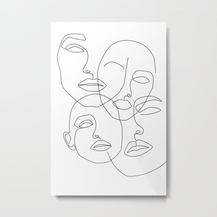 Messy Faces Metal Print