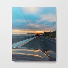 Malibu Drive Electric Sun Beam Sunset by the Ocean on PCH Metal Print
