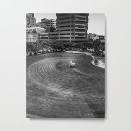 Mowing The Lawns In A Circle Metal Print