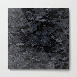 Pixelated Dark Grey Camouflage Metal Print