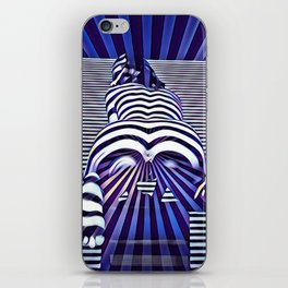 2519s-JPC Blue Striped Nude Woman From Behind iPhone Skin
