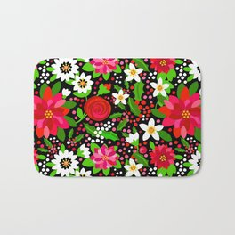Christmas Flowers and Holly, Poinsettia, Roses and Lilies, holidays, girls floral gift, gift for mom Bath Mat