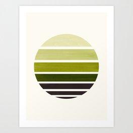 Olive Green Mid Century Modern Minimalist Circle Round Photo Staggered Sunset Geometric Stripe Desig Art Print