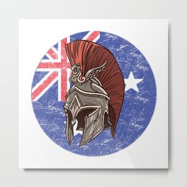 Australia Australian Spartan  TShirt Warrior Shirt Flag Gift Idea Metal Print