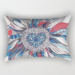 Flower Patterns on White Rectangular Pillow