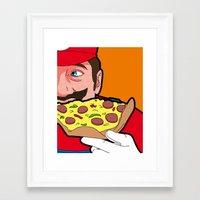 secret life of heroes Framed Art Prints featuring The secret Life of Heroes - MarioFood by Greg Guillemin