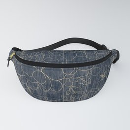 Rustic blue white wood gold floral Fanny Pack