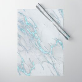 b42e49c6f8ef8 Marble Love Electric Blue Metallic Wrapping Paper