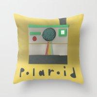 polaroid Throw Pillows featuring Polaroid by lotsofart