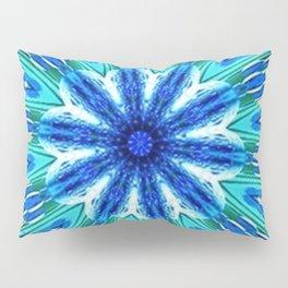 Teal Blue Floral Kaleidoscope Pillow Sham